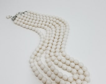 Classic Triple Strand White Bead Necklace From Japan