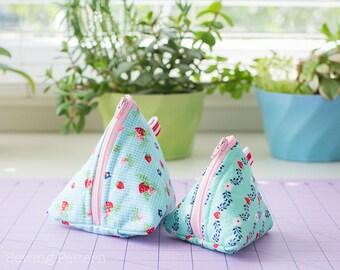 Pyramid Pouch Sewing PATTERN, Zipper Bag Pattern, Coin Purse Pattern, Handbag Pattern