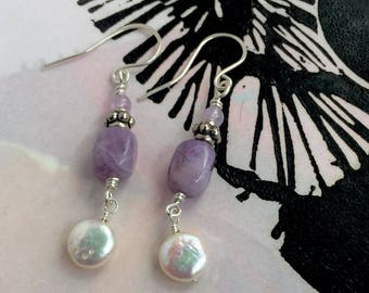 Amethyst and Pearl Dangle Earrings with Sterling Silver Accent Bead