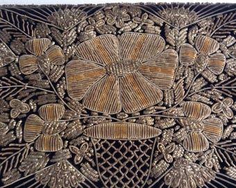 Vintage Velvet Clutch Bag / Indian Zardozi Embroidery