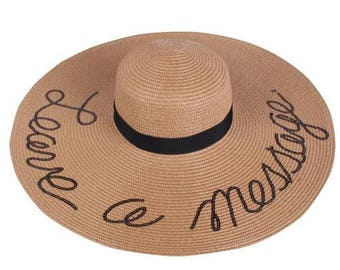 Leave  a Message Embroidered Floppy Hat