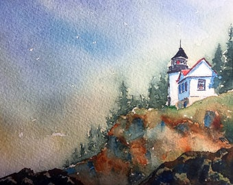 Cliff Lighthouse (Original Watercolor Painting)