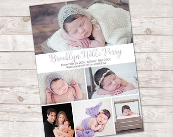 Birth Announcement, Photo Birth Announcement, Baby Girl, Baby Boy announcement, It's a girl, It's a boy, Baby Announcement,Multi Photo