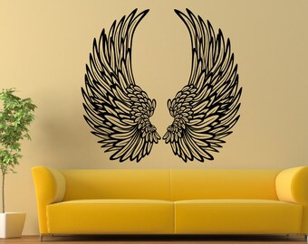 Angel Wings With Feathers Wall Stickers Vinyl Wall Decal a12