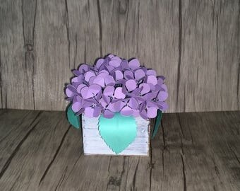 Paper Violet Table Decor  - Rustic Home Decor - Table Accent - Birthday Table Centerpiece - Paper Flower Centerpiece