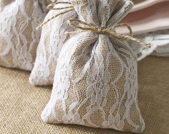50 Burlap Lace Pouches/DIY Burlap Wedding Favor Bags/Rustic Wedding Favor Gift Bags/Burlap and Lace Gift Bag/Burlap Sachets/Linen Burlap Bag