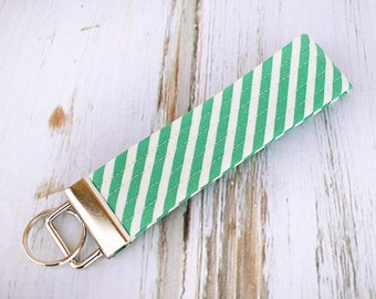 Quilted Fabric Key Fob, Key Chain, Key Holder -  Turquoise Stripe