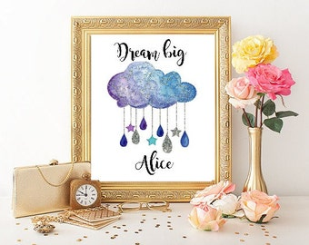 Personalised name print, dream big print, dream big little one, personalised new baby gift, nursery decor, cloud decor, nursery wall art