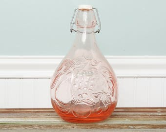 Blush Glass-Pink  Jug-Decanter- Casadis Milano Jus De Fruits-Pink Empty 2 Litre Glass Decanter with Stopper