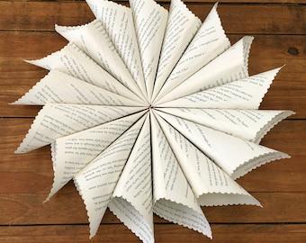 100 Confetti Cones, Book Page Cones, Wedding Petal Cones, Paper Cones, Petal Cones, Petal Holder, Flower Petal Holder, Cones for Confetti