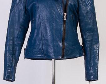 Blue leather jacket | Etsy