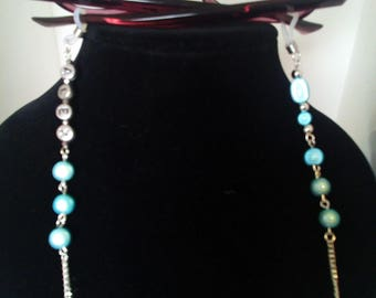 Gift Set - personalised glasses , spectacles chain / strap with matching bookmark - with pale blue illusion beads (other colours available)