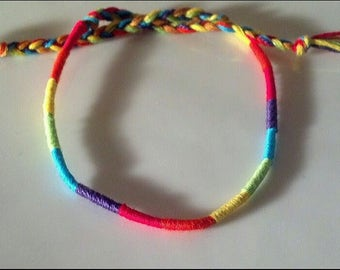 New! HANDMADE! Rainbow WRAP style friendship bracelet
