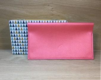 Wearing glittery pink goat leather checkbook