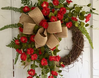 Front Door Wreaths - Spring Wreath - Summer Wreath - Red Petunia Wreath - wreath for Door - Spring Wreaths for Front Door