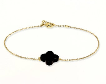Bracelet plated very thin chain gold black clover