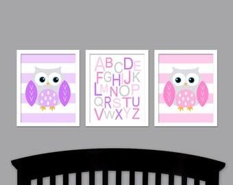 Owls Nursery Art with Alphabet