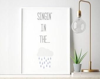 Singing in the Rain, Song Lyrics Print, Blue, Music Poster, Nursery Decor, A4 print, Retro Illustration, Home Decor, Instant Download