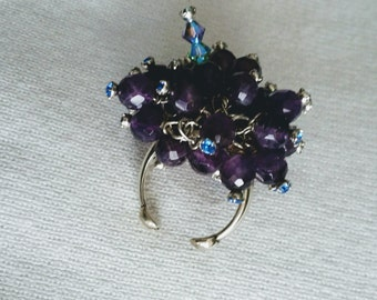 "Amethyst sterling cluster ring, crystal wire wrapped, fits approx 6.5-8"".  DL#160"