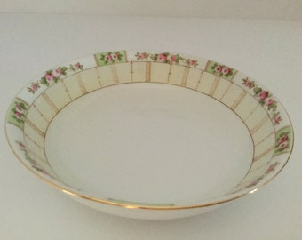 """Early  Hand-painted Nippon Porcelain 5 7/8"""" Dish with Blue Leaf Mark"""