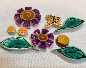 Playful Purple and Orange Flower Butterfly Leaves Handmade Mosaic Tile Pack