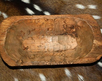 Carved Wooden Dough Bowl Primitive Wood Trencher Tray Rustic Home Decor 9 inch