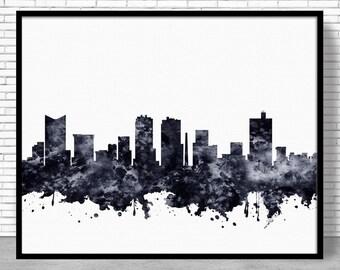 Fort Worth Print, Fort Worth Skyline, Fort Worth Texas, Office Decor, Office Art, Watercolor Skyline, Watercolor City Print, ArtPrintZone