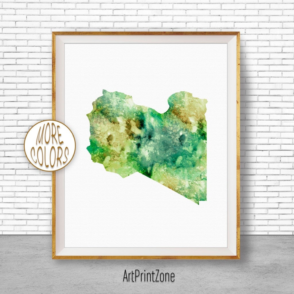 Libya Art Watercolor Map Office Wall Decor Living Room Print Zone