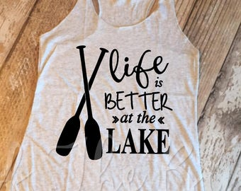 Life Is Better At The Lake White Heather Racerback Tank Top