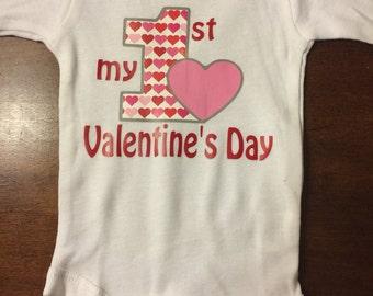 Baby girl First Valentines Day Onesie