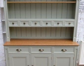 Kitchen Dresser kitchen dresser with glass doors plate rack basket storage drawers and cupboards Handmade Kitchen Dresser Farrow Ball