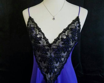 Vintage Adonna Deep Purple Nylon and Black Lace Gothic Nightgown
