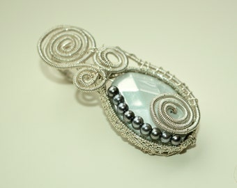 Frosted Silver Weaved Pendant