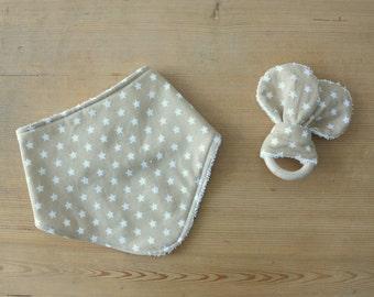 Cotton bandana bib and towel-star beige
