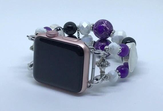 """Apple Watch Band, Women Bead Bracelet Watch Band, iWatch Strap, Apple Watch 38mm, Apple Watch 42mm, Deep Purple, Black, White 6 3/4"""" - 7"""""""