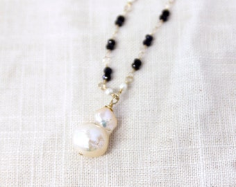 Baroque Pearl Necklace with Sapphires