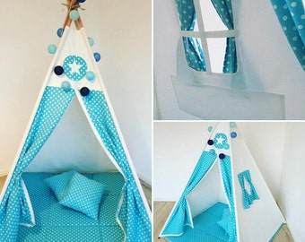 Play tent Goggly dots blue