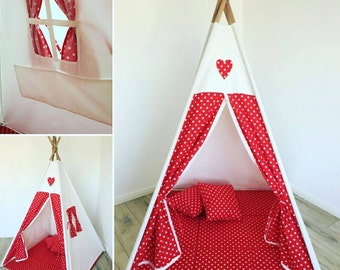 Play tent Goggly dots Red