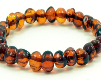 "Amber  Bracelet for Adults, Dark Cognac Color, 18~20cm (7.08~7.9"" ), Made on Elastic Band from Polished Baltic Amber Baroque Beads L011B"