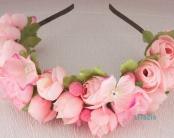 Beautiful hair accessory with pink roses. special ocassion hair band.