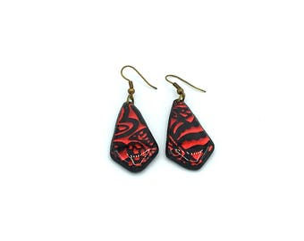 Red/Black Heart earring