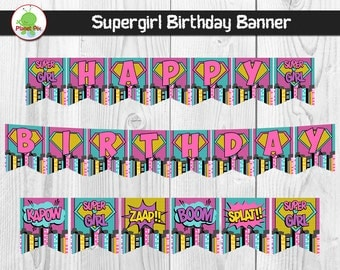 Supergirl Banner Etsy Jpg 340x270 Happy Birthday Pink