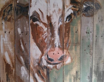 Hand made Pallet Cow. Painted art on pallet