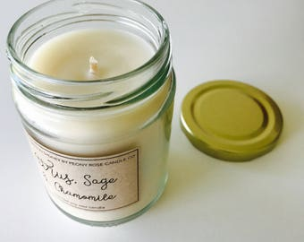 Citrus, sage & chamomile scented soy candle