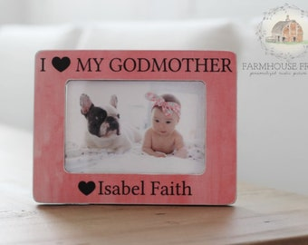 Godmother Gift for Godmother Personalized Picture Frame Baptism Gift Godfather Godparents