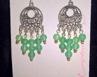 Jade green glass chandelier