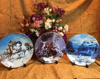 "Lot Of 3 American Indian 8"" Collector Plates"