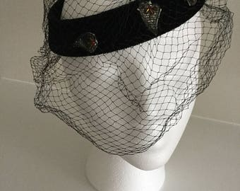 Vintage black velvet headpiece