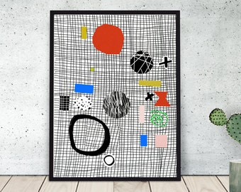 Ping pong PAL art print / poster / wallart / giclee / abstract / paper collage / colourful wall art / geometric / black & white