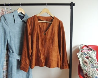FREE SHIPPING - Vintage Orange/ Camel Brown 100% Linen Top Blazer with buttons and small back split, size 44